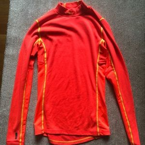 Neon pink long-sleeve running top and yellow trim
